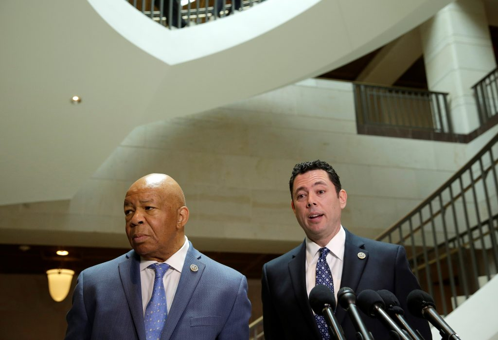 Chairman of the House Oversight and Government Reform Committee Jason Chaffetz (R) (R-UT) and Rep. Elijah Cummings (D-MD) speak about the failure of former National Security Adviser Michael Flynn to disclose payments for a 2015 speech in Moscow on a security clearance application, in D.C. Photo by Joshua Roberts/Reuters
