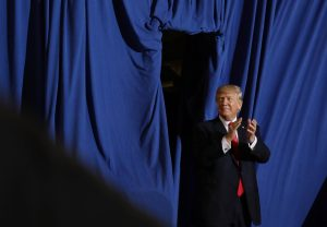 U.S. President Donald Trump arrives at a rally marking his first 100 days in office in Harrisburg