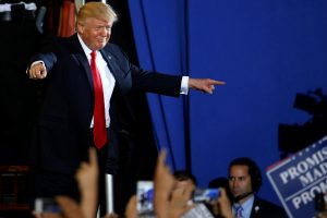 U.S. President Donald Trump appears on stage at a rally in Harrisburg