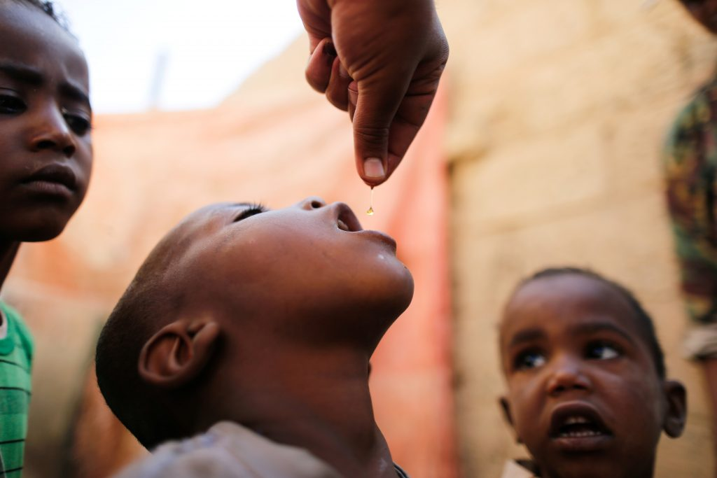 About 5 million children under age 5 were vaccinated against polio in the World Health Organization's latest campaign. Photo by Khaled Abdullah/Reuters