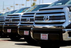 Toyota trucks are shown for sale at a dealership in Carlsbad, California, U.S. May 2, 2016. REUTERS/Mike Blake - RTX2CI1Y