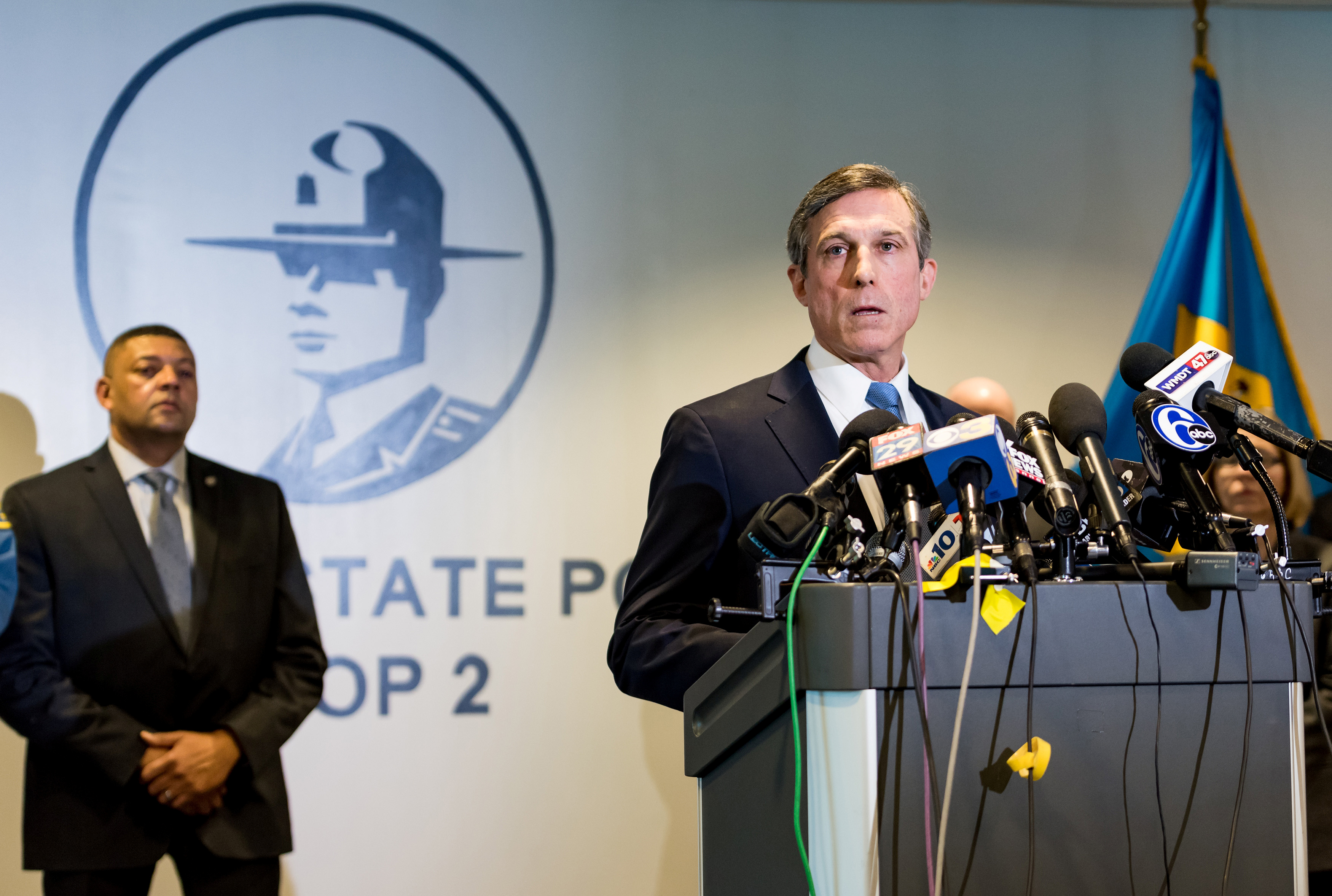 Delaware Governor John Carney speaks during a news conference about a hostage incident and killing of a prison guard in Glasgow
