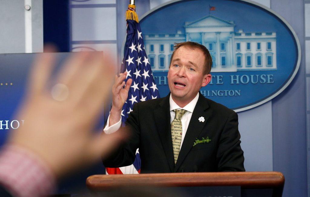 White House Office of Management and Budget Director Mick Mulvaney speaks about of U.S. President Donald Trump's budget in the briefing room of the White House in Washington, U.S., March 16, 2017. REUTERS/Kevin Lamarque - RTX31DDS