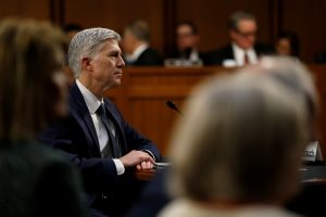 Supreme Court nominee judge Neil Gorsuch testifies during the third day of his Senate Judiciary Committee confirmation hearing on Capitol Hill in Washington, U.S., March 22, 2017. REUTERS/Jonathan Ernst - RTX328PV