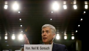 Neil Gorsuch responds to a question during his Senate Judiciary Committee confirmation hearing in Washington