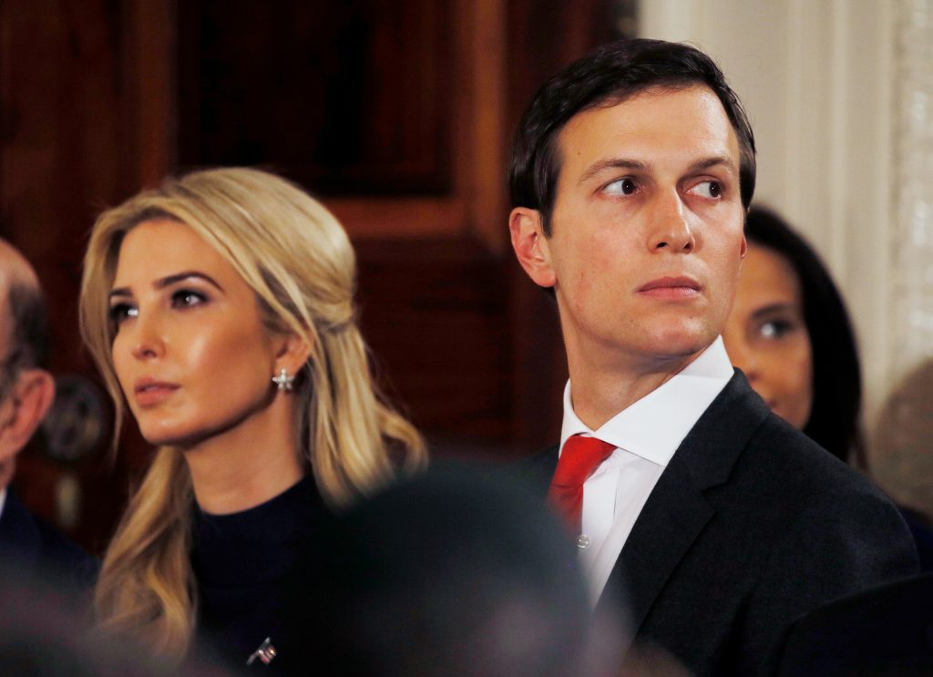 Ivanka Trump and her husband Jared Kushner watch as German Chancellor Angela Merkel and President Donald Trump hold a joint news conference in the East Room of the White House in Washington, U.S., March 17, 2017. Photo by Jim Bourg/Reuters
