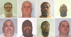 Inmates Bruce Ward(top row L to R), Don Davis, Ledell Lee, Stacy Johnson, Jack Jones (bottom row L to R), Marcel Williams, Kenneth Williams and Jason Mcgehee are shown in this booking photo provided March 21, 2017. Two were scheduled to be executed by lethal injection in Arkansas on April 17. Photo courtesy Arkansas Department of Corrections/Handout via Reuters