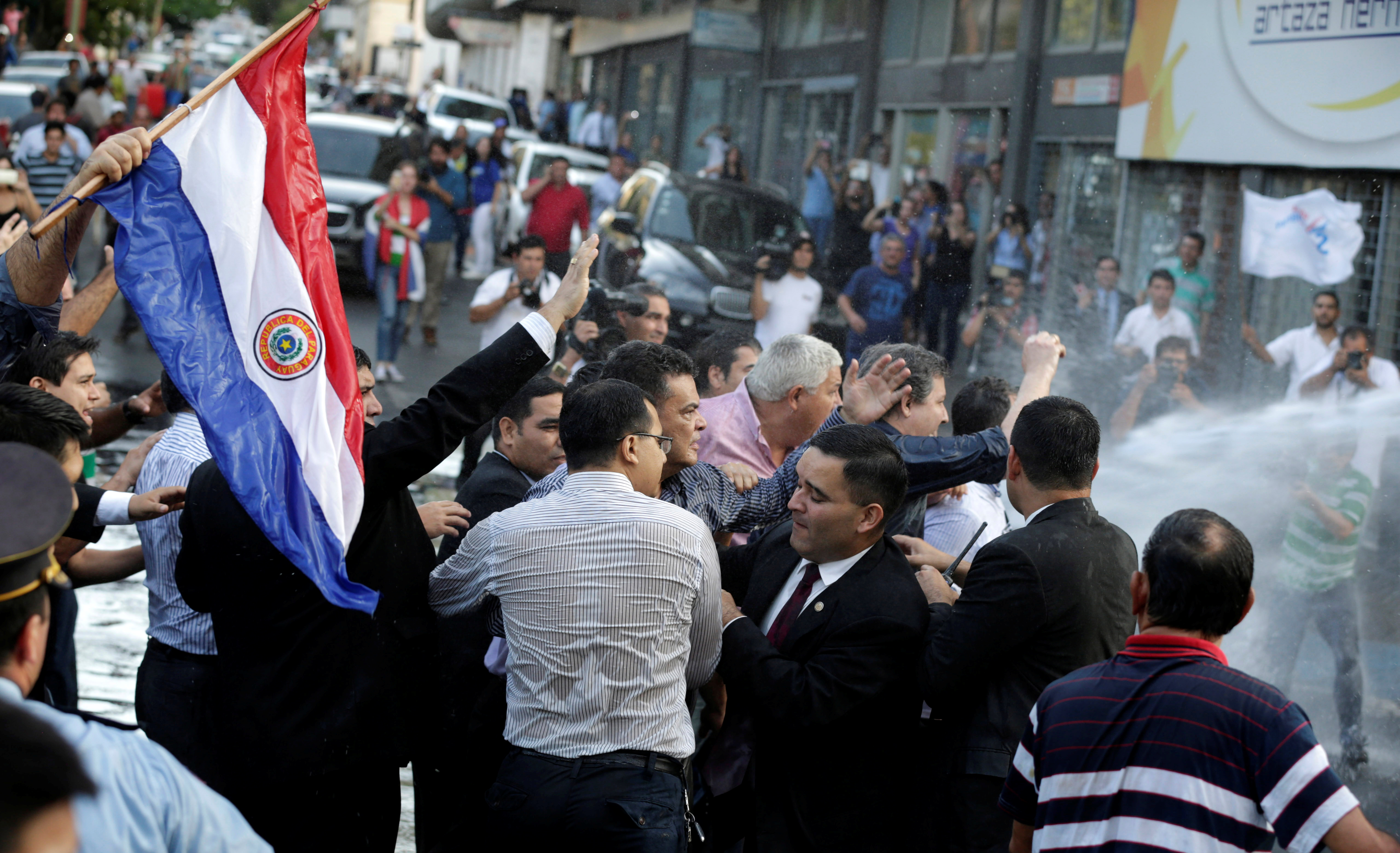 President of Paraguay's congress Roberto Acevedo is seen during a demonstration against a possible change in the law to allow for presidential re-election in front of the Congress building in Asuncion