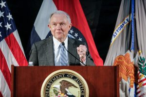 U.S. Attorney General Jeff Sessions speaks to law enforcement officers at the Thomas Eagleton U.S. Courthouse in St. Louis Missouri, U.S. March 31, 2017. REUTERS/Lawrence Bryant - RTX33LAF