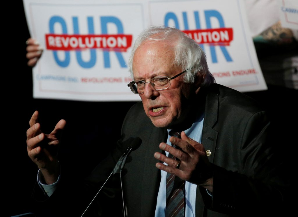 U.S. Senator Bernie Sanders speaks at an Our Revolution rally in Boston, Massachusetts, U.S., March 31, 2017.  Photo by REUTERS/Mary Schwalm.