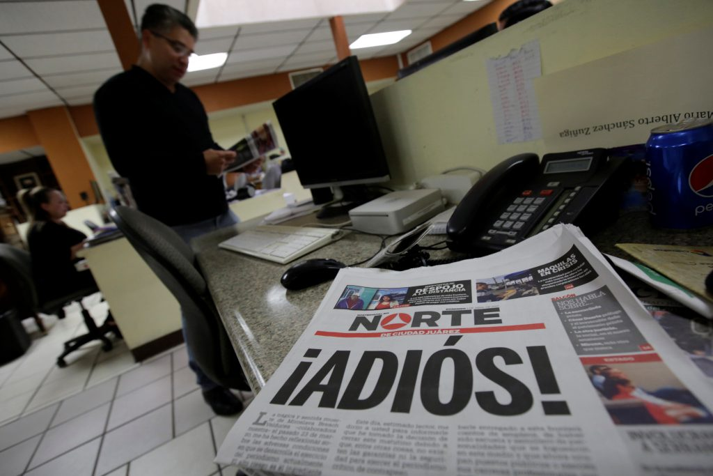 El Norte newspaper is pictured after the paper announced its closure due to what it says is a situation of violence against journalists in Ciudad Juarez, Mexico. The word reads, 'Goodbye!' Photo by Jose Luis Gonzalez/Reuters