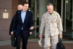 President Donald Trump's son-in-law and senior adviser Jared Kushner (left) speaks with Marine Corps Gen. Joseph Dunford Jr., chairman of the Joint Chiefs of Staff, before departing for Iraq from Ramstein Air Base in Germany on April 3. Photo by DoD/Navy Petty Officer 2nd Class Dominique A. Pineiro/Handout via Reuters