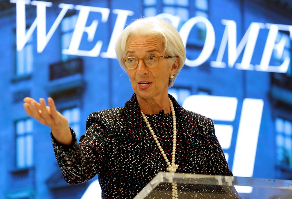 Managing Director of the International Monetary Fund Christine Lagarde speaks at the American Enterprise Institute in Washington, U.S., April 3, 2017. REUTERS/Joshua Roberts - RTX33W7Z