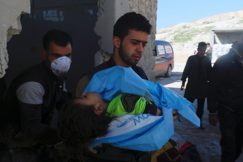 Dozens were killed in a suspected chemical attack in a town in Syria's rebel-held northern Idlib province on April 4. Photo by Ammar Abdullah/Reuters