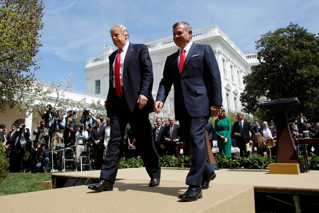 U.S. President Donald Trump (L) and Jordan's King Abdullah II leave after a joint news conference in the Rose Garden at the White House in Washington, U.S., April 5, 2017. REUTERS/Yuri Gripas TPX IMAGES OF THE DAY - RTX3492V