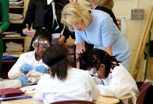 Secretary of Education Betsy DeVos watches fifth grade science students dissect owl pellets during a visit to the Excel Academy public charter school in Washington, D.C. Photo by Joshua Roberts/Reuters