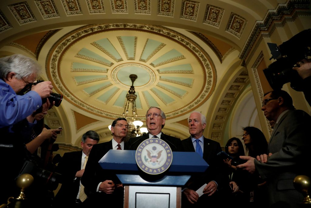 FILE PHOTO - Senate Majority Leader Mitch McConnell speaks with the media following the Republican policy luncheon on Capitol Hill in Washington, D.C., U.S., March 14, 2017. REUTERS/Aaron P. Bernstein/File Photo - RTX34B14