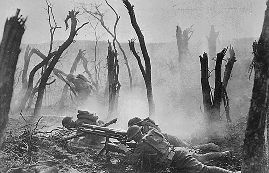 An American gun crew from Regimental Headquarters Company, 23rd Infantry, fires a 37mm gun during an advance against German entrenched positions in an undated photo taken during World War I. Image courtesy of the Library of Congress/Handout via Reuters