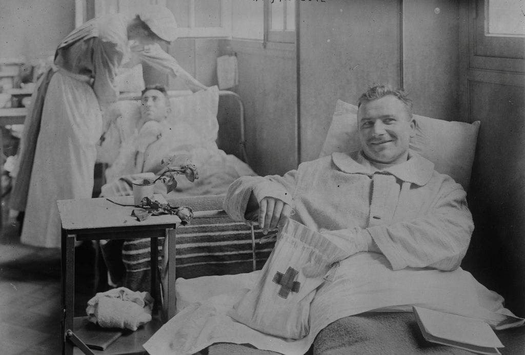 Wounded soldiers lie in an American field hospital in Auteuil, Paris, France around 1915 during World War I. Image courtesy of the Library of Congress/Handout via Reuters