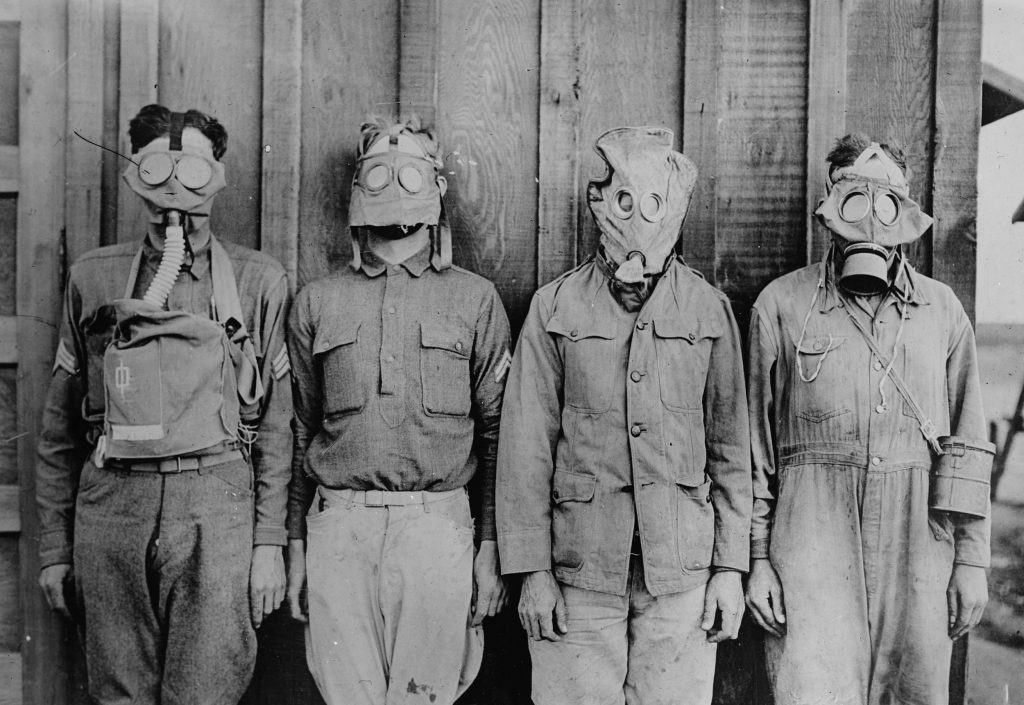American, British, French and German gas masks are seen in an undated photo taken during World War I. Image courtesy of the Library of Congress/Handout via Reuters