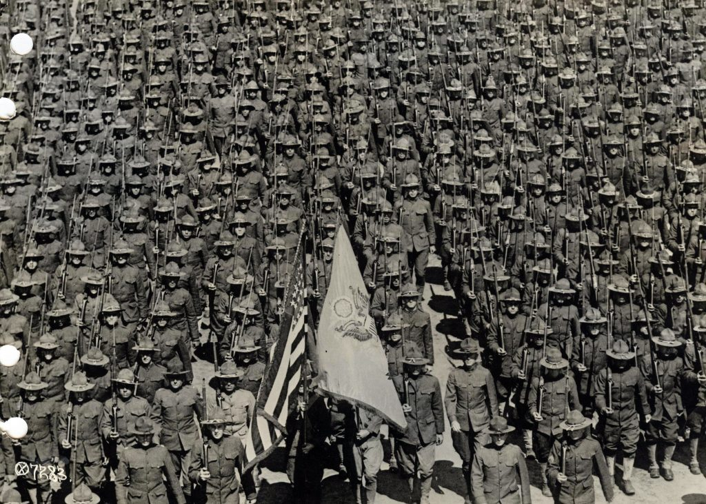 U.S. soldiers of the 82nd Division stand in formation at Camp Gordon, Georgia in 1917 for service in World War I. The division would later become the 82nd Airborne Division. Image courtesy of the U.S. Army/Handout via Reuters