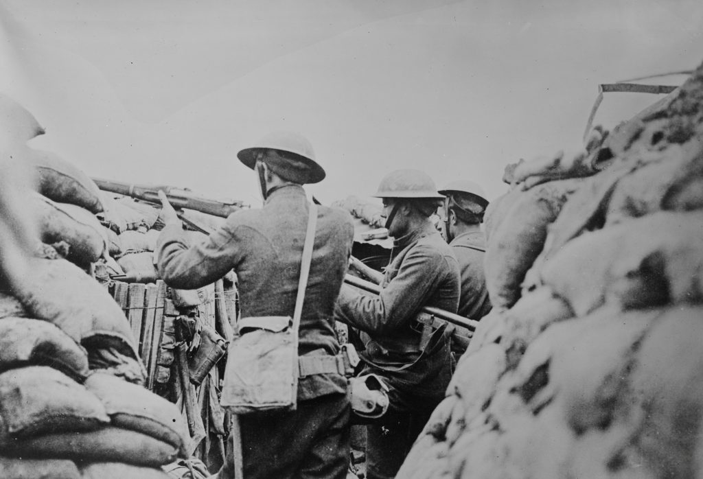 American soldiers keep watch in a trench in France in an undated photo taken during World War I. Image courtesy of the Library of Congress/Handout via Reuters