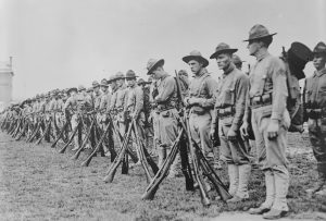 U.S. Marines form a line in France in an undated photo taken during World War I. Image courtesy of the Library of Congress/Handout via Reuters