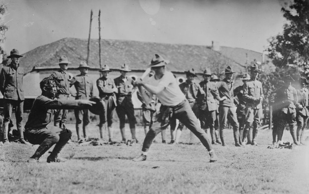 U.S. Army soldiers playing baseball in France in 1917. Image courtesy of the Library of Congress/Handout via Reuters