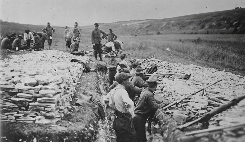 American troops undergo grenade gun training in France in an undated photo taken during World War I. Image courtesy of the Library of Congress/Handout via Reuters