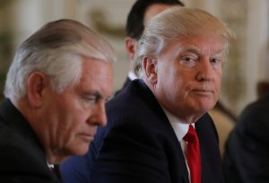 U.S. President Donald Trump (R) sits next to Secretary of State Rex Tillerson during a bilateral meeting with China's President Xi Jinping (Not Pictured) at Trump's Mar-a-Lago estate in Palm Beach, Florida. Photo by Reuters.