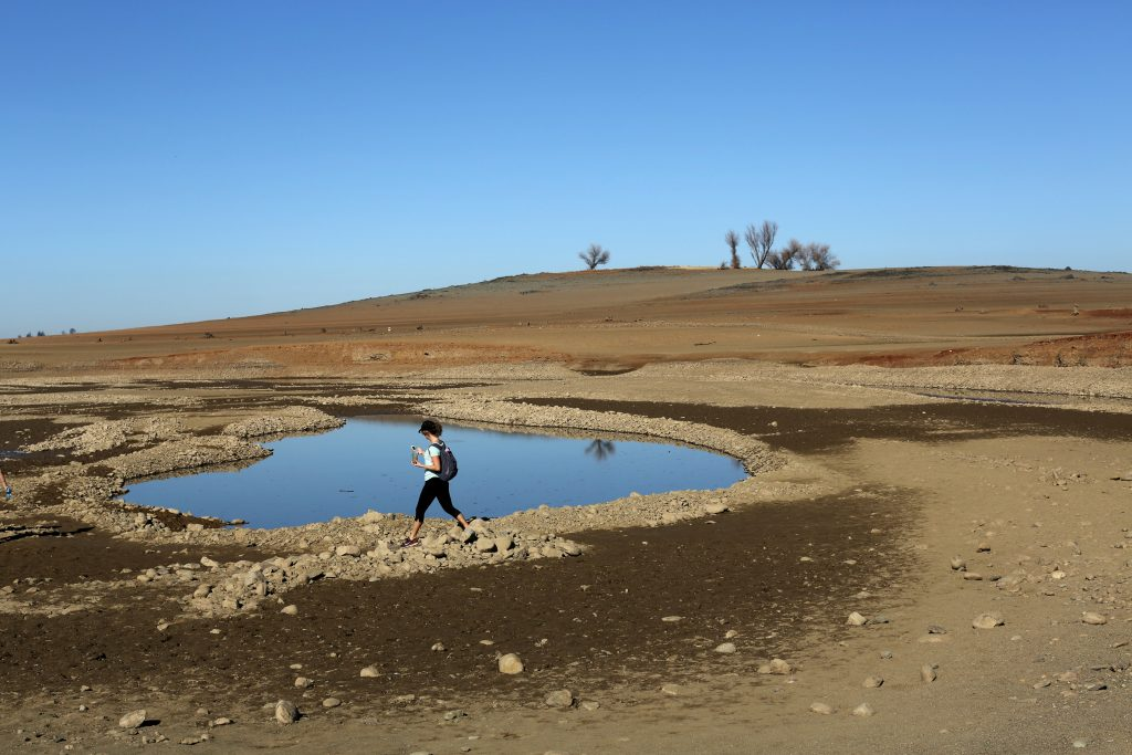 A visitor walks near the receding waters at Folsom Lake, which is 17 percent of its capacity, in Folsom, California. Photo by Robert Galbraith/Reuters