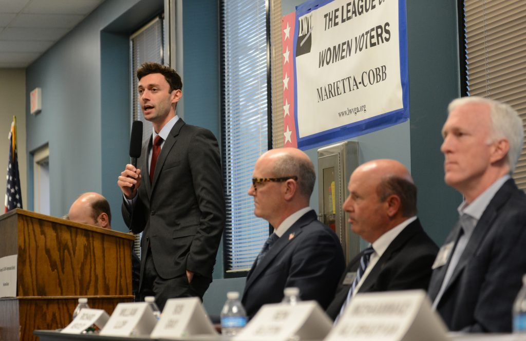 Democratic candidate Jon Ossoff speaks during the League of Women Voters' candidate forum for Georgia's 6th Congressional District special election to replace Tom Price, who is now the secretary of Health and Human Services, in Marietta, Georgia, U.S. April 3, 2017. Picture taken April 3, 2017. REUTERS/Bita Honarvar - RTX34R1E
