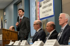 Democratic candidate Jon Ossoff speaks during the League of Women Voters' candidate forum for Georgia's 6th Congressional District special election to replace Tom Price, who is now the secretary of Health and Human Services, in Marietta, Georgia, U.S. April 3, 2017. Picture taken April 3, 2017. Photo by Bita Honarvar/Reuters