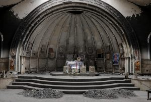 An altar of a damaged church is seen in the town of Qaraqosh, south of Mosul, Iraq. Photo taken on April 11, 2017. Photo by Marko Djurica/Reuters