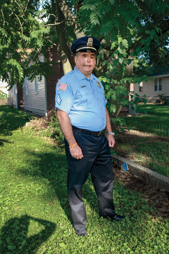 Police sergeant Jon Brough was hit in the face by a wanted man who had just murdered two people. The sergeant's face shield malfunctioned and he was blinded by the bullet. –Belleville, Illinois, 2006 Credit: SHOT: 101 Survivors of Gun Violence in America by Kathy Shorr, published by powerHouse Books