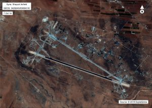 Shayrat airfield in Syria is shown in this satellite image revealing damage from a barrage of U.S. cruise missiles. Photo provided by the U.S. Department of Defense.
