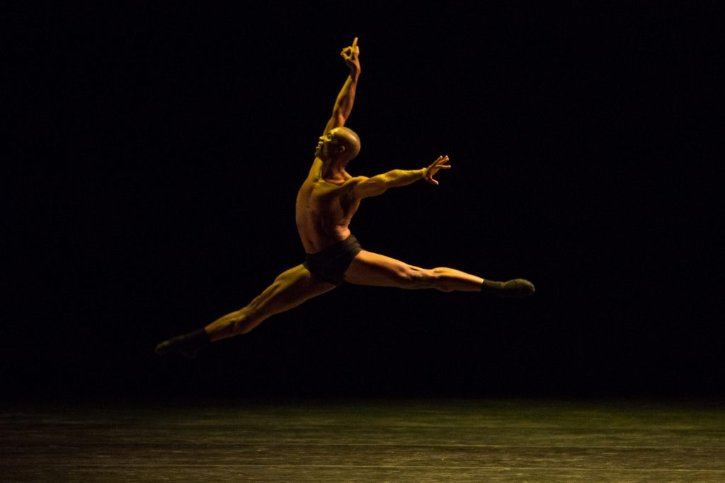 "Dancer Desmond Richardson in ""IMPRINT/MAYA."" Photo by Teresa Wood."