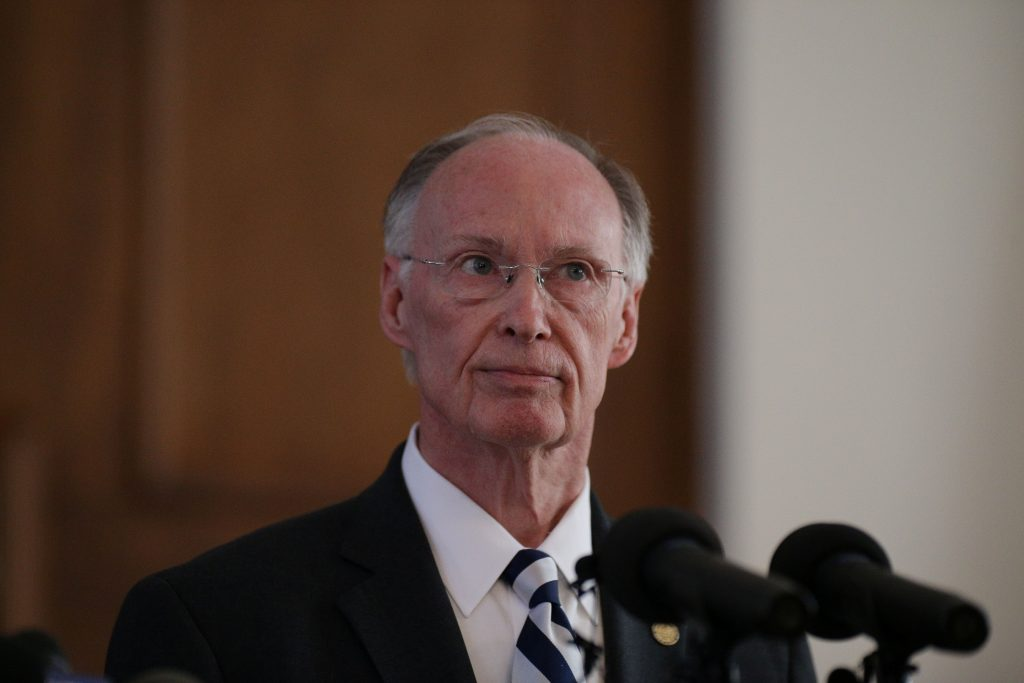 Alabama Gov. Robert Bentley announces his resignation April 10 amid impeachment proceedings on accusations stemming from his relationship with a former aide in Montgomery, Alabama/ Photo by    REUTERS/Marvin Gentry.