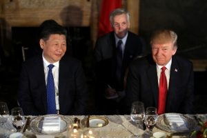 Chinese President Xi Jinping and President Donald Trump attend a dinner at the start of their summit at Trump's Mar-a-Lago estate in West Palm Beach, Florida. Photo by REUTERS/Carlos Barria.