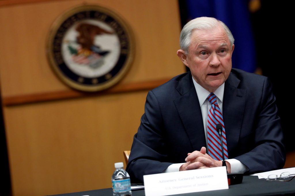 Attorney General Jeff Sessions speaks during an April 18 meeting with the Organized Crime Council and Organized Crime Drug Enforcement Task Force Executive Committee in Washington, D.C.. Photo by REUTERS/Aaron P. Bernstein.