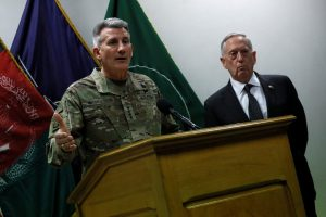 U.S. Defense Secretary James Mattis (R) and U.S. Army General John Nicholson (L), commander of U.S. Forces Afghanistan, hold an April 24 news conference at Resolute Support headquarters in Kabul, Afghanistan. Photo by REUTERS/Jonathan Ernst.