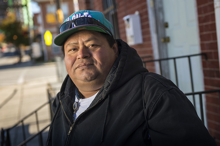 Jose Cedillo, a 41-year-old former restaurant worker from Honduras struggles to get health care for his diabetes. His immigration status compounds his issues and often finds himself without a job and homeless on the streets of Baltimore. Photo by Doug Kapustin for KHN
