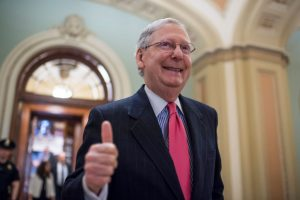 "Senate Majority Leader Mitch McConnell, R-Ky., gives a thumbs up after the Senate invoked the ""nuclear option"" which will allow for a majority vote to confirm a Supreme Court justice nominee. The vote for nominee Neil Gorsuch is scheduled for Friday. Photo By Tom Williams/CQ Roll Call."