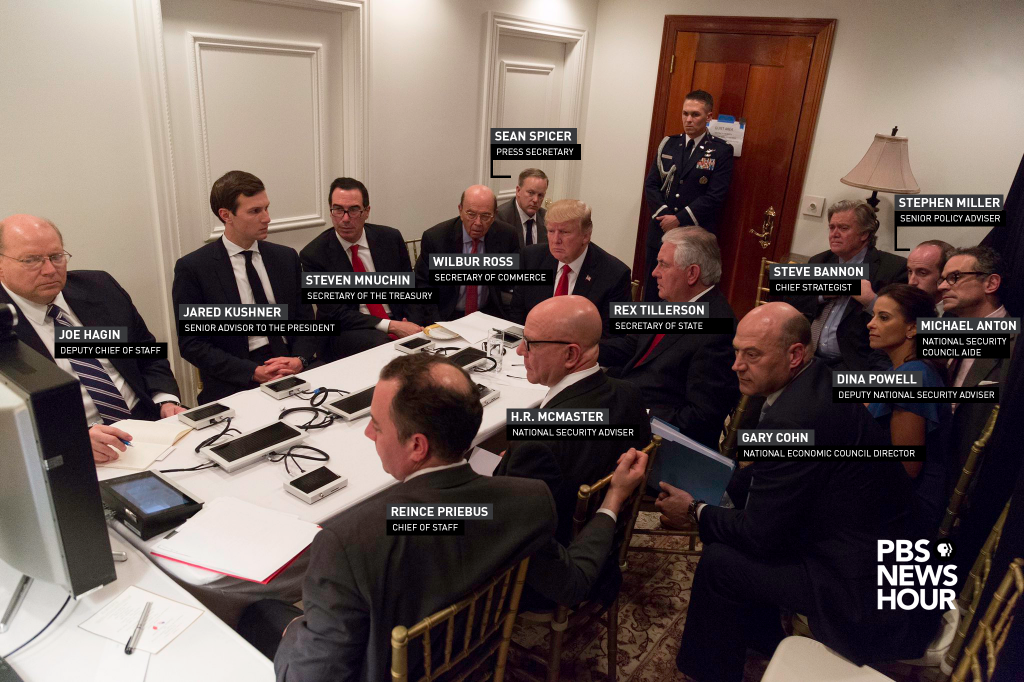 The NewsHour identified every key member in the room when President Donald Trump was briefed on the April 6 U.S. strike on Syria. Photo provided by the White House.
