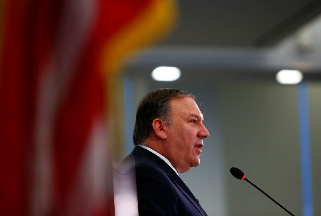 Central Intelligence Agency Director Mike Pompeo speaks April 13 at The Center for Strategic and International Studies in Washington, D.C. Photo by REUTERS/Eric Thayer.