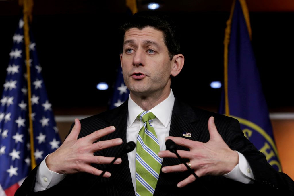 FILE PHOTO: U.S. House Speaker Paul Ryan (R-WI) speaks during his news conference after Republicans pulled the American Health Care Act bill to repeal and replace the Affordable Care Act act known as Obamacare, prior to a vote on Capitol Hill in Washington, U.S. March 24, 2017. photo by REUTERS/Yuri Gripas/File Photo.