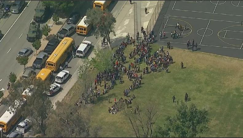 Overhead shot of North Park Elementary School in San Bernardino, California.