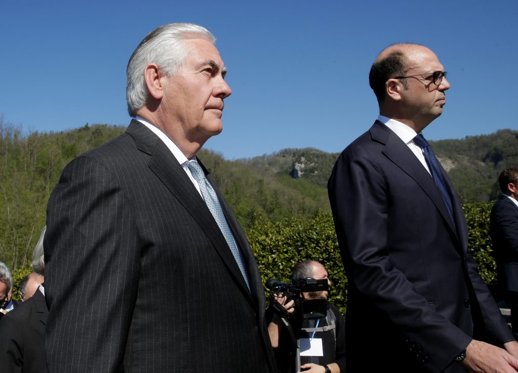 U.S. Secretary of State Rex Tillerson (L) and Italy's Foreign Minister Angelino Alfano arrive to attend a ceremony at the Sant'Anna di Stazzema memorial April 10 in Italy. Photo by REUTERS/Max Rossi.