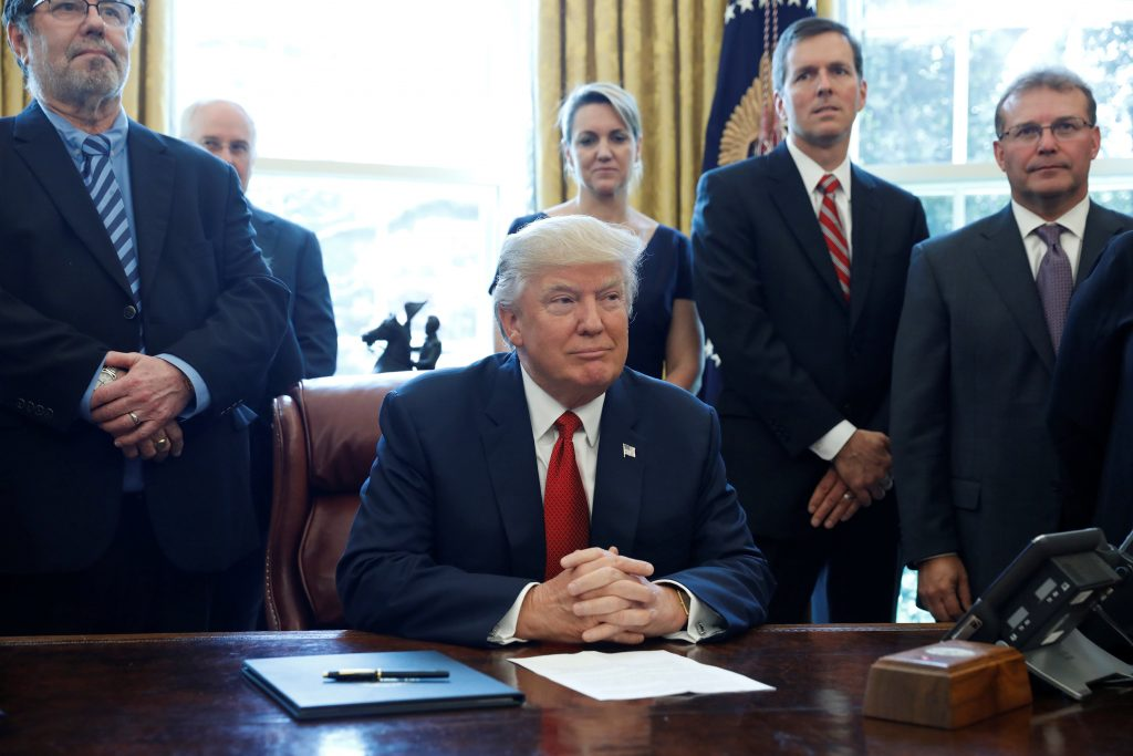 President Donald Trump speaks April 20 before signing a directive ordering an investigation into the impact of foreign steel on the American economy in the Oval Office of the White House in Washington, D.C. Photo by REUTERS/Aaron P. Bernstein.