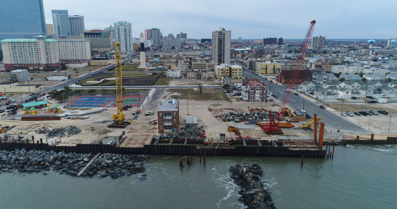 The Army Corps is building a seawall to protect downtown Atlantic City from floods caused by storm surges. Photo by Ted Blanco/Climate Central